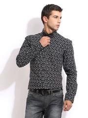 Mast & Harbour Men Black & White Sharp Fit Club Casual Shirt