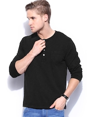 Mast & Harbour Men Black Henley T-shirt