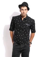 Mast & Harbour Men Black Printed Sharp Fit Club Formal Shirt