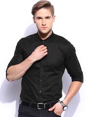 Mast & Harbour Men Black Sharp Fit Smart Casual Club Shirt