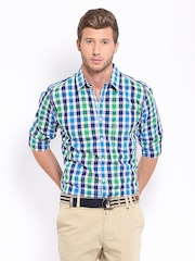 Mast & Harbour Men Blue & Green Checked Casual Shirt