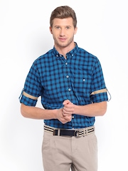 Mast & Harbour Men Blue & Navy Checked Casual Shirt
