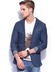Mast & Harbour Men Blue Denim Blazer