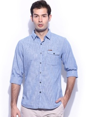 Mast & Harbour Men Blue & White Houndstooth Slim Fit Casual Shirt