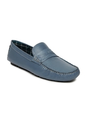 Mast & Harbour Men Blue Leather Loafers