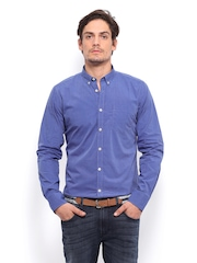 Mast & Harbour Men Blue Slim Fit Formal Shirt