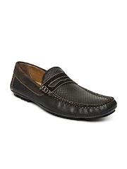 Mast & Harbour Men Dark Brown Leather Loafers