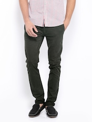 Mast & Harbour Men Charcoal Grey Slim Fit Chino Trousers