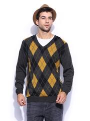 Mast & Harbour Men Charcoal Grey Sweater