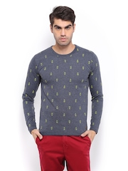 Mast & Harbour Men Charcoal Grey T-shirt