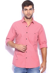 Mast & Harbour Men Coral Pink Solid Poplin Slim Fit Smart-Casual Shirt