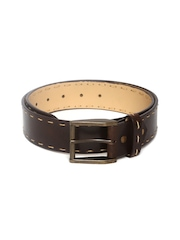 Mast & Harbour Men Dark Brown Leather Belt