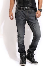 Mast & Harbour Men Dark Grey Jeans