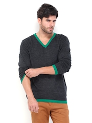 Mast & Harbour Men Dark Grey Melange Sweater