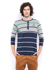 Men Grey Melange & Navy Striped Henley T-shirt Mast & Harbour