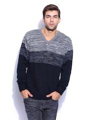 Mast & Harbour Men Grey Melange & Navy Sweater