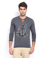 Mast & Harbour Men Grey Printed T-shirt