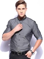 Mast & Harbour Men Grey Slim Fit Club Casual Shirt