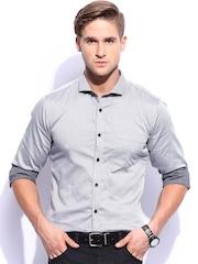 Mast & Harbour Men Grey Sharp Fit Smart Casual Club Shirt