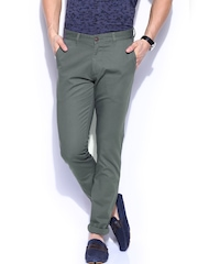 Mast & Harbour Men Grey Slim Fit Sports Casual Chino Trousers