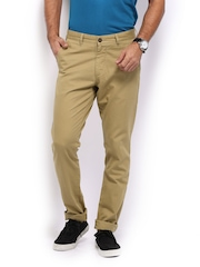 Mast & Harbour Men Khaki Slim Fit Sports Casual Chino Trousers