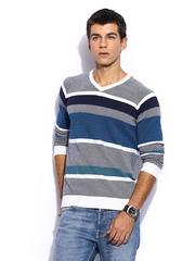 Mast & Harbour Men Grey & Blue Striped Sweater