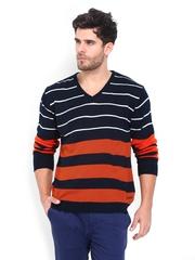 Mast & Harbour Men Navy & Orange Striped Sweater