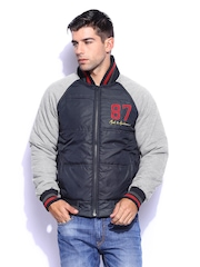 Mast & Harbour Men Navy & Grey Padded Jacket