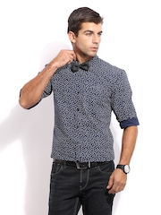 Mast & Harbour Men Navy Printed Sharp Fit Club Casual Shirt