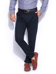 Mast & Harbour Men Navy Slim Fit Sports Casual Deck Chino Trousers
