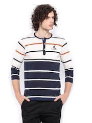 Mast & Harbour Men Off-White & Navy Striped Henley T-shirt