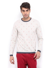 Mast & Harbour Men Off-White Sweatshirt