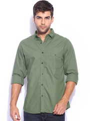 Mast & Harbour Men Olive Green Solid Poplin Slim Fit Smart-Casual Shirt