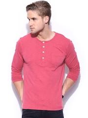 Mast & Harbour Men Pink Henley T-shirt
