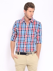 Men Red & Blue Checked Casual Shirt Mast & Harbour