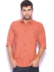 Mast & Harbour Men Rust Orange Solid Poplin Slim Fit Smart-Casual Shirt