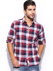 Mast & Harbour Men Red & Blue Checked Slim Fit Casual Shirt