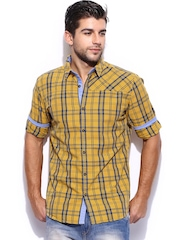 Mast & Harbour Men Yellow & Blue Checked Slim Fit Casual Shirt