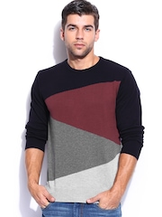 Mast & Harbour Men Black & Maroon Sweater