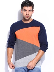 Mast & Harbour Men Navy & Orange Sweater