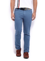 Mast & Harbour Men Stone Blue Slim Fit Overdyed Trousers