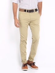 Mast & Harbour Men Beige Slim Fit Trousers