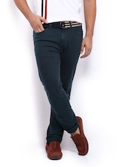 Mast & Harbour Men Navy Slim Fit Overdyed Trousers