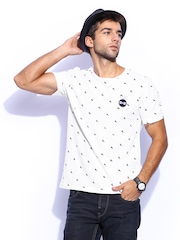 Mast & Harbour Men White & Black Printed Club Casual T-shirt