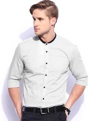 Mast & Harbour Men White & Black Sharp Fit Smart Casual Club Shirt