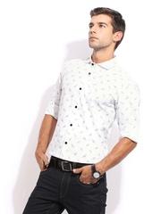 Mast & Harbour Men White Printed Sharp Fit Club Casual Shirt