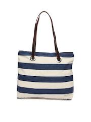 Mast & Harbour Navy & Cream-Coloured Striped Shoulder Bag