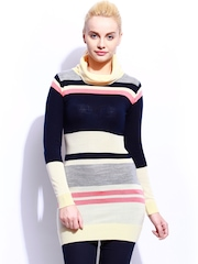 Mast & Harbour Women Navy & Yellow Striped Sweater