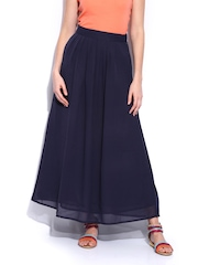Mast & Harbour Navy Pleated Maxi Skirt