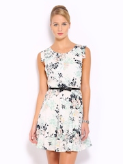 Mast & Harbour White & Green Printed Tailored Dress
